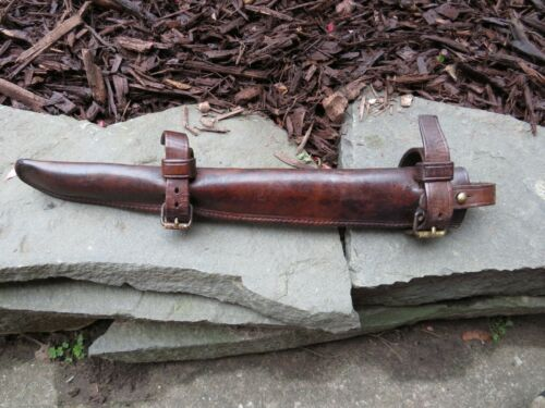 WWI ERA US LEATHER M1912 CAVALRY PICKET PIN  SCABBARD GREAT CONDITION