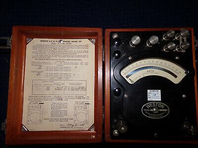Vintage 1955 Weston Model 310 Wattmeter Electrical Gauge Instrument Usa Wood