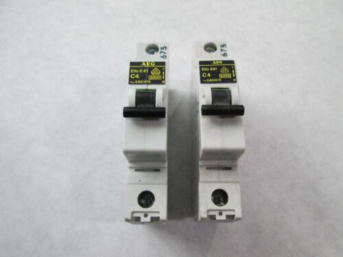 Lot of 2 AEG Elfa-E81-C4 Circuit Breakers (1 Pole, 4 Amp, 240 Volt)