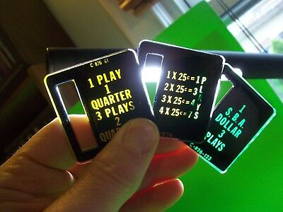 Bally Arcade Pinball Machine Plastic Coin Value Plates Lot Of (3) Different #1