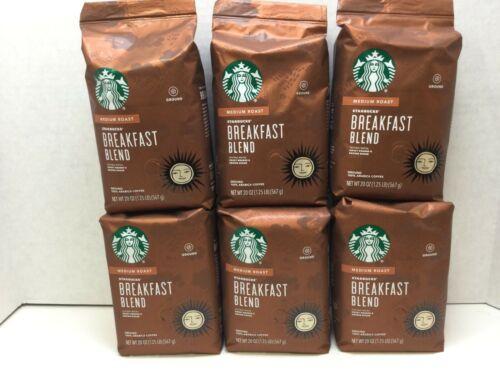 Starbucks Breakfast Blend Medium Roast Ground Coffee, 20 oz Bags,6/PACK, 03/2021