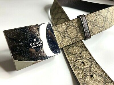 GUCCI VINTAGE LOGO CHROME SILVER BUCKLE GUCCISSIMA PVC BELT MEN WIDE BEIGE ITALY