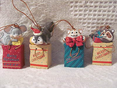 "Christmas Ornaments Packages with Cat, Mouse, Squirrel & Raccoon 2-1/2"" Tall -4"