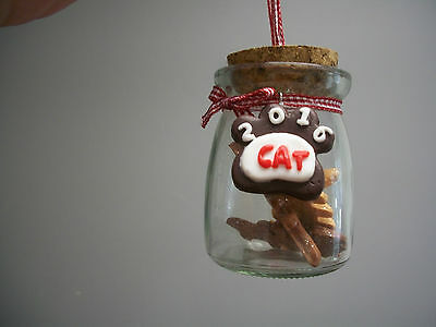 Fish Cat Kitty Treats Glass Jar Cork Top Cover Dated 2016 XMas Ornament NWT