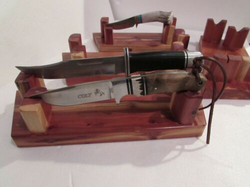CEDAR DOUBLE KNIFE STAND,HAND RUBBED FINISH/HANDMADE IN USA, BACK AGAIN AND ON S