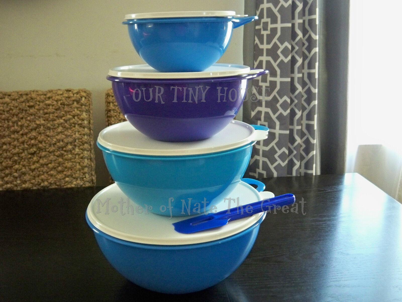 NEW Tupperware Thatsa Bowl SET 4 Containers Spatula Shades of Blue ...