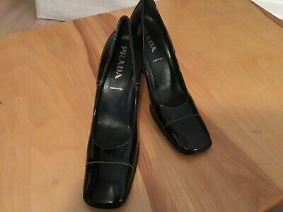 "GORGEOUS! Worn Once VTG PRADA Black Patent Pumps 3"" Heel 40 41 9.5 10 B M"