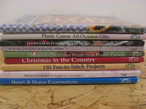 LOT OF 9 PLASTIC CANVAS PROJECT BOOKS