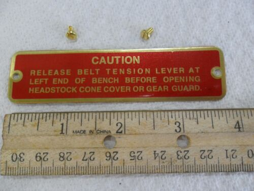 """South Bend Lathe """"Belt Tension"""" Name Plate"""