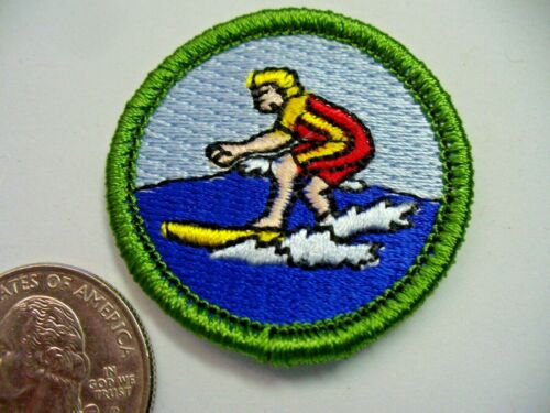 """Boy Scout """"Surfing"""" Spoof Merit Badge - Shows Surfer on Surf Board Riding Wave"""