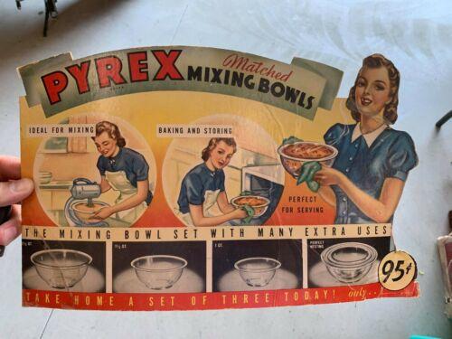 "RARE RARE Vintage Pyrex 95 Cent Bowls Cardboard Store Display Sign 15"" x 9"""