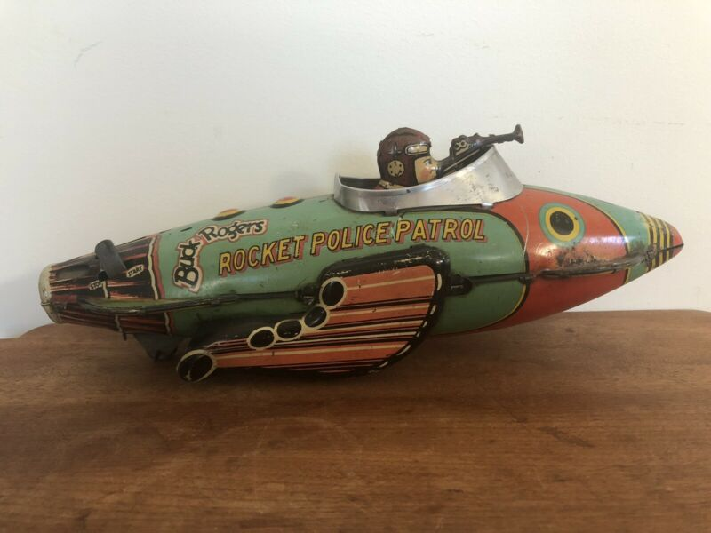 Marx 1934 Vintage Buck Rogers Police Patrol Tin  Rocket Ship, Works Rare Toy