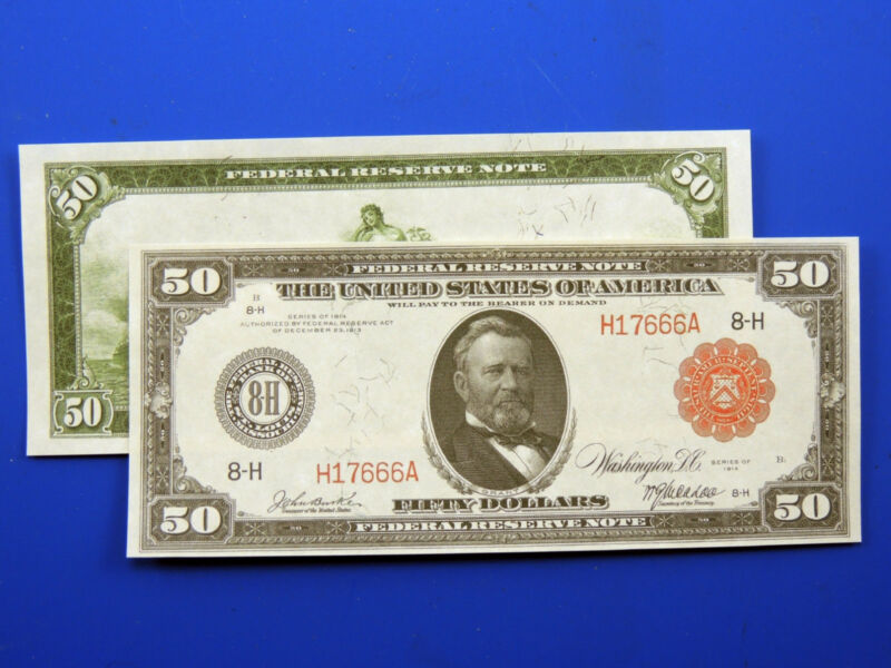 Reproduction $50 1914 Federal Reserve Note Red Seal US Paper Money Currency Copy