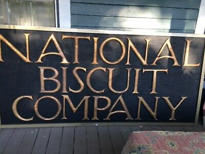 National Biscuit Company Early 1900s Antique ORIG Wooden Sign gold 12 inch