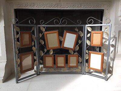 Picture Frames Fireplace Screen Metal Matte Silver Folding Embellished Gold Leaf Framed Fireplace Screen