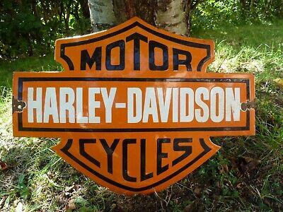 "HARLEY Porcelain Sign Vintage Motorcycle Advertising 22"" Domed Collectible Biker"