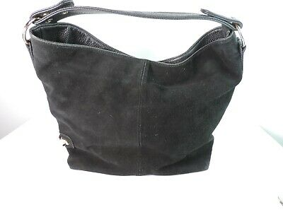 Realer Handbag Women Genuine Leather Bag Hobo Black Textured Suede Gold Hardware