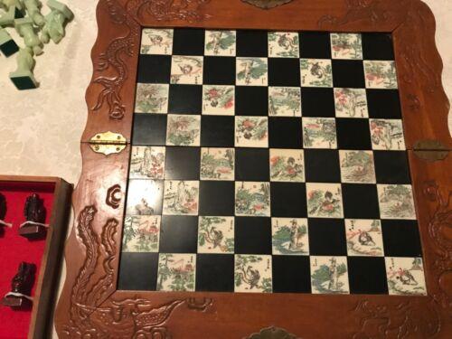 vintage Japanese Fold & Go CHESS  Set inlaid tiles & carved wood & Jadeite color