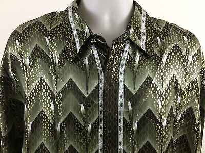 RARE MENS ALBERTO CELINI METALLIC SILK SHIRT OLIVE BLACK GREY & WHITE SIZE XLG. for sale  Westerly