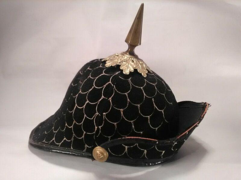 Knights of Pythias Helmet Black Velvet Early 20th Century