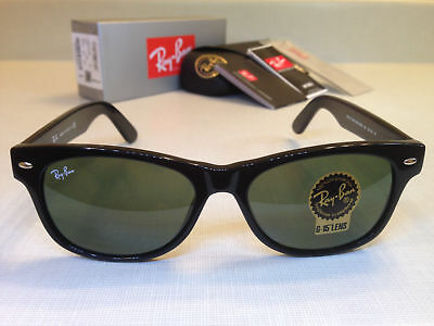 Ray Ban New Wayfarer Sunglasses Green Lenses Black Frame Size 55MM