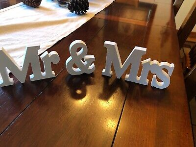 Mr & Mrs Letters (White Decorative Signs & Plaques Wood Mr Mrs & Wooden Letters)