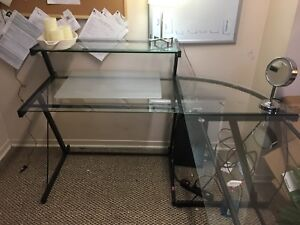 Black Chrome and Glass Desk, with Black Computer Chair