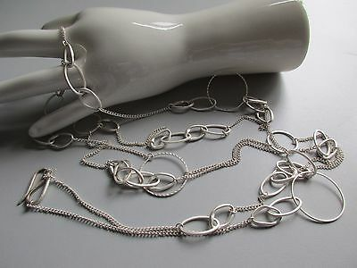Extravagante, lange Vintage Kette-doppelreihig-Modeschmuck-925er Silberschließe