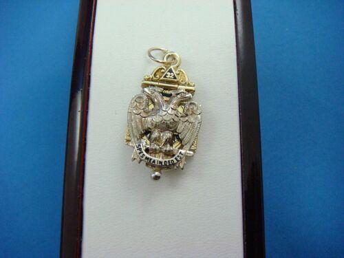 14K YELLOW GOLD ANTIQUE MASONIC 32 DEGREE PENDANT, ENGRAVED 1917-1921, 12 GRAMS