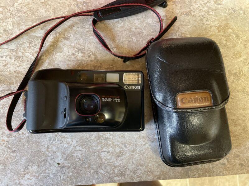 Canon Sure Shot Supreme Point and Shoot 35mm Film Camera w/ Canon Case & Strap
