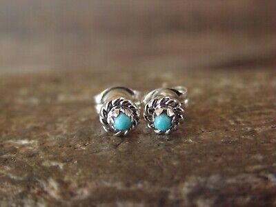 Zuni Indian Sterling Silver Turquoise  Post Earrings by Lutse