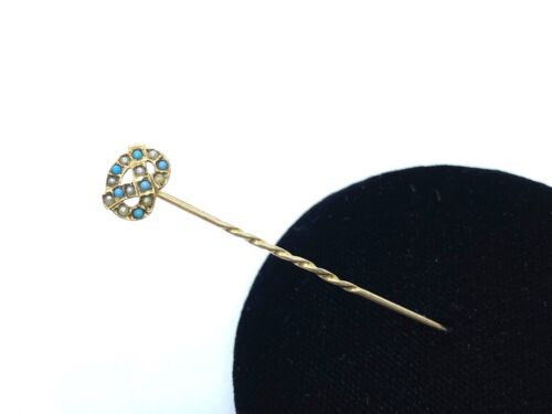 Antique Victorian MURRLE BENNETT 9CT Gold Seed Pearl & Turquoise Stick Pin