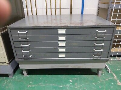 Vintage Steel Flat Blueprint Art Map 5 Drawer File Cabinet 46 X 34 X 17.5