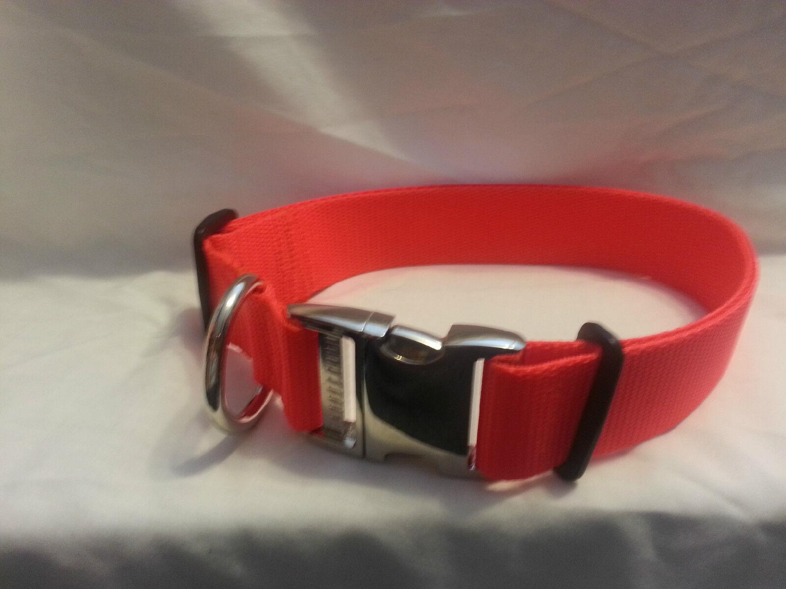 Adjustable HEAVY DUTY Dog Collar Metal Side Release Buckle C