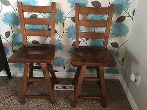 Solid maple swivel bar stools