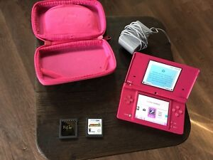 Pink Nintendo DSi. R4 card (games), charger, case