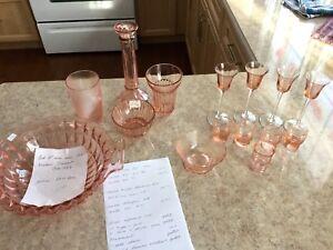 Lot de 15 mx de verres dépression rose
