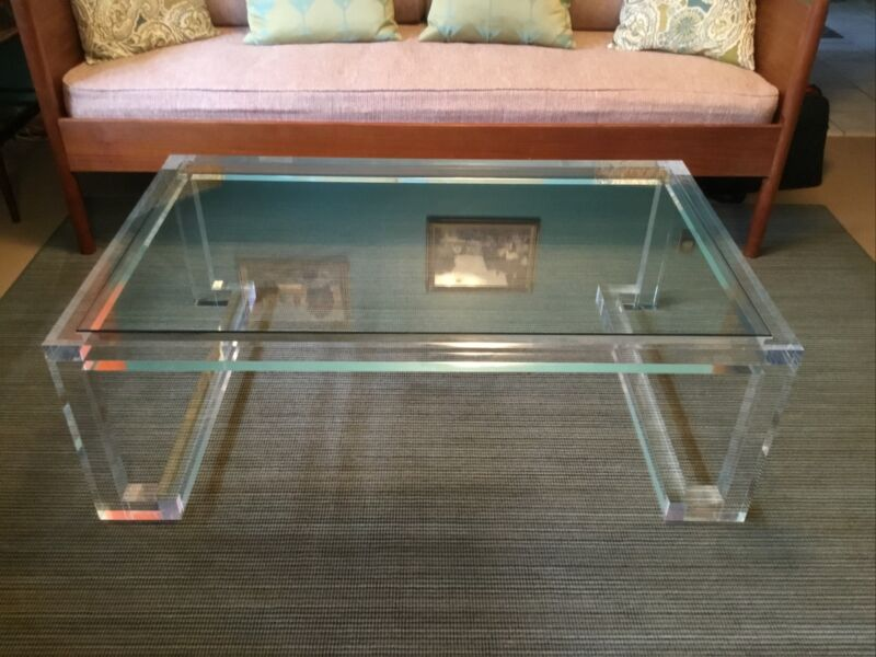 Vintage Interlude Home Clear Lucite Acrylic Glass Top Coffee Table, Preowned