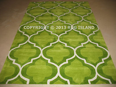8x10 Thick Contemporary Modern European Moroccan Lime Green Area Rug