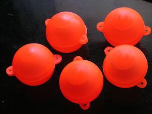 Orange Hi Viz bubble floats x 5 Surface fishing,Carp,sea,in line