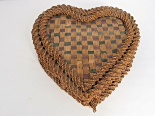 Antique Heart Shape Rye Intricately Woven Sewing Basket c.1900