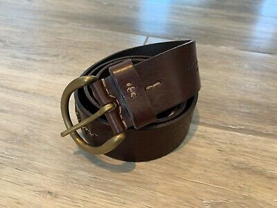 HENRY BEGUELIN BROWN SLIT, BEAD AND STITCH ACCENT BELT UNISEX SZ 85