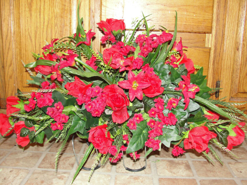 Red Roses Wild Lilies Cemetery Grave Saddles Silk Memorial Headstone Flowers