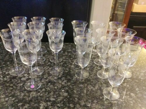 Antique Romanian cut glass water and wine glass set