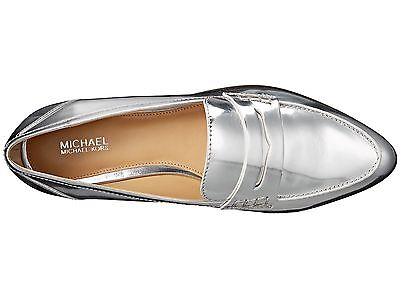 NIB $135 Size 9 Michael Kors Connor Silver Metallic Leather Loafer