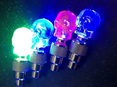 1 INDIVIDUAL SKULL LED CAP bike valve stem flashing Light Bicycle Wheel Tire Car