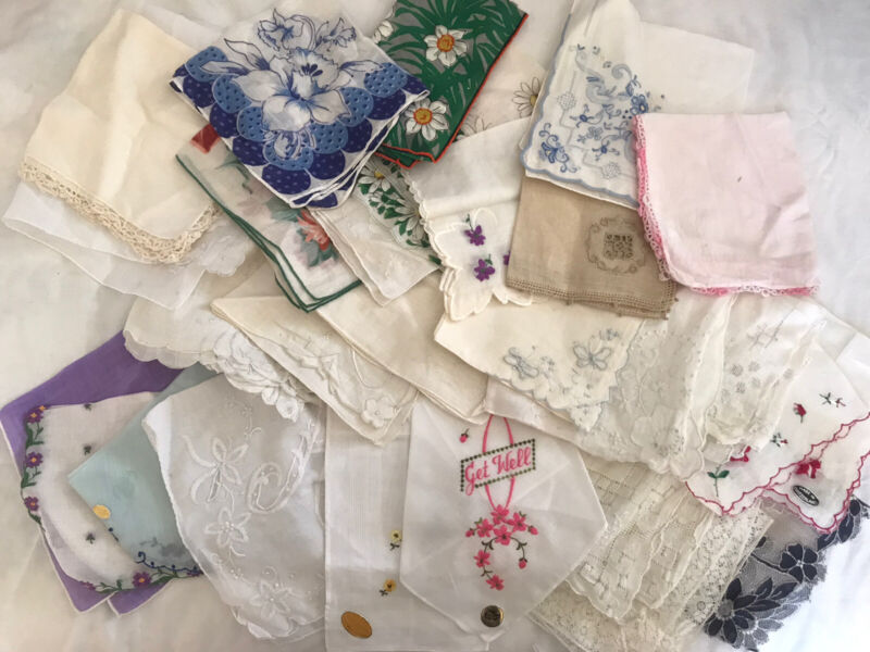 Vintage Hankerchief Ladies Lot Of 27 Assorted Nice Condition Some New