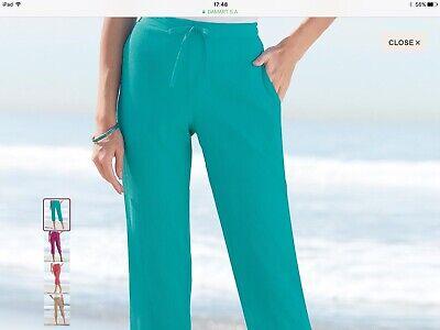 Size 16 Waist Jade Crinkle Trousers 👖 Capri Leg New From Damart RRP £21