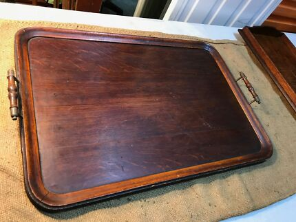 Large Antique Early Victorian English Oak & Brass Serving Tray