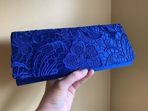 Beautiful NEW Royal Blue Satin and Lace Clutch Purse